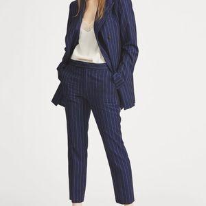 Lauren By Ralph Lauren Navy Blue Pinstripe Wool